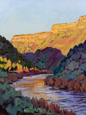 "Sunrise in Orilla Verde, 48"" x 36"", oil on panel"