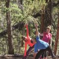 Practicing yoga in the forest with the Yogihiker, Santa Fe, New Mexico